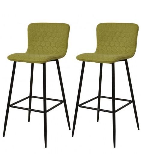 VEGAS Lot de 2 tabourets de bar pieds métal noir - Revetement tissu vert - Style contemporain - L46 x P46 cm