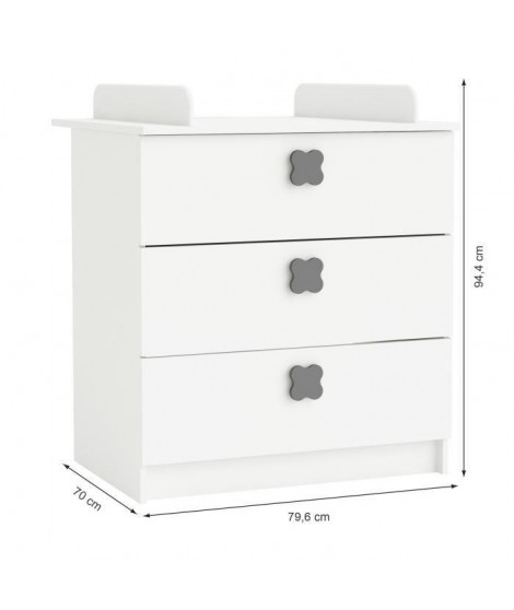 CLOVER Commode a Langer 3 Tiroirs Coloris Blanc Perle