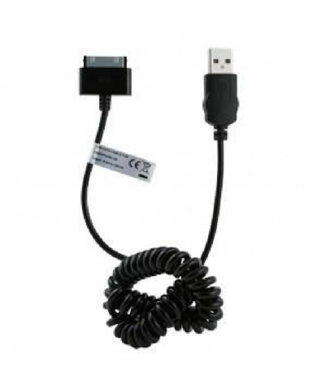 MUVIT SPRING Câble Droit APPLE 30 PIN 1A CHARGE & SYNC 1M Noir