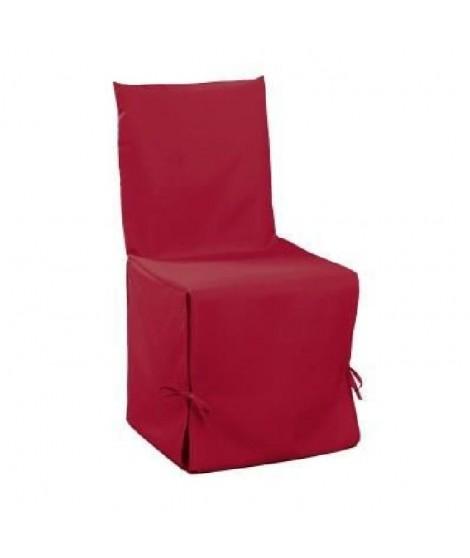 DOUCEUR d'INTERIEUR Housse de chaise unie a nouettes 50x50x50 cm Essentiel rouge