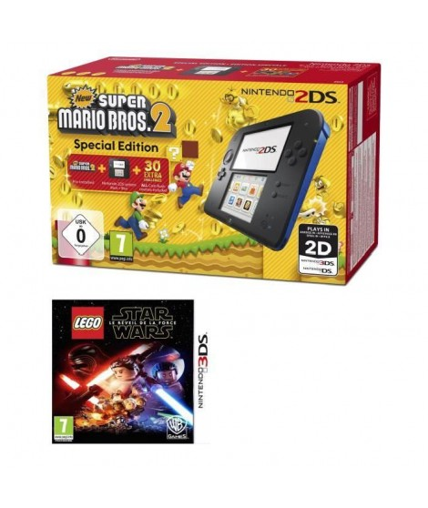 2DS Bleue + New Super Mario Bros 2 + LEGO Star Wars : Le Réveil de la Force