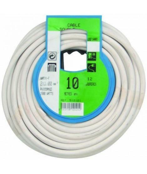PROFIPLAST Couronne de câble 10 m HO5VVF 2 x 1 mm2 Blanc