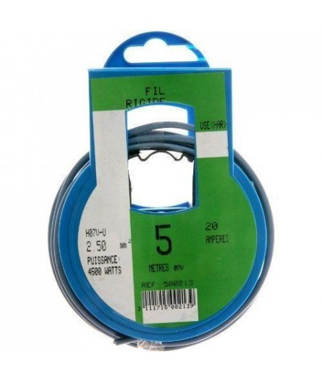 PROFIPLAST Couronne de câble 5 m HO7V-U 2,5 mm2 Bleu