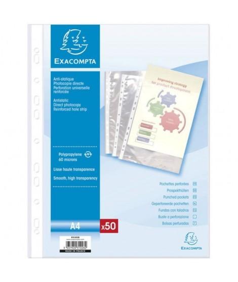 EXACOMPTA 50 pochettes perforées 210x297  55µ perforation univers - 11 trous sous film avec encart
