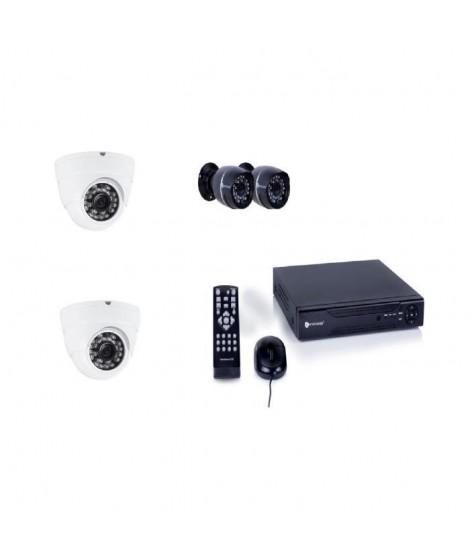 SMARTWARES Kit de surveillance filaire DVR524S avec enregistreur 4 canaux 500 Gb de stockage, 2 caméras bullet et 2 caméras dôme