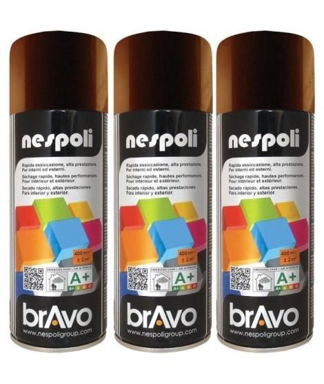 NESPOLI Lot de 3 aérosols peinture brun chocolat RAL8017