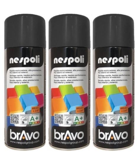 NESPOLI Lot de 3 aérosols peinture professionnelle noir brillant