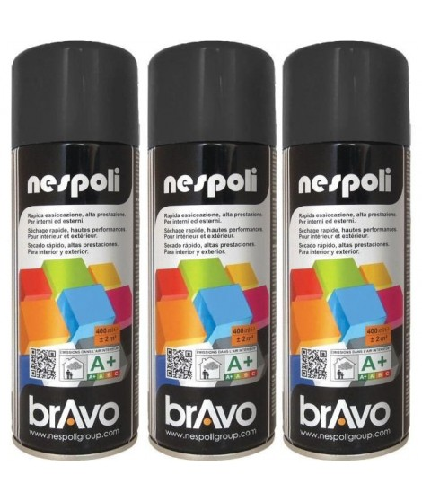 NESPOLI Lot de 3 aérosols peinture professionnelle noir mat