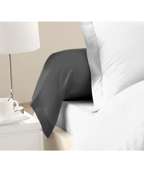 LOVELY HOME Lot de 2 Taies de Traversin 100% coton 85x185 cm gris foncé