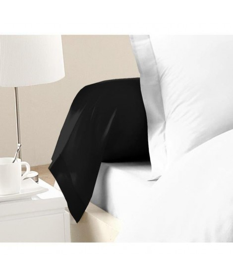 LOVELY HOME Lot de 2 Taies de Traversin 100% coton 85x185 cm noir