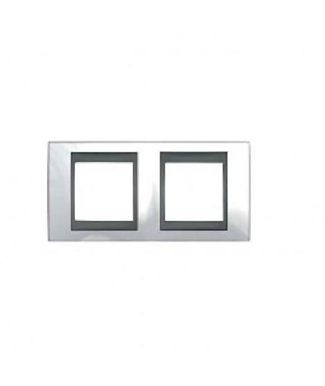 SCHNEIDER ELECTRIC Plaque 2 postes Unicatop en graphite liseré techno blanc