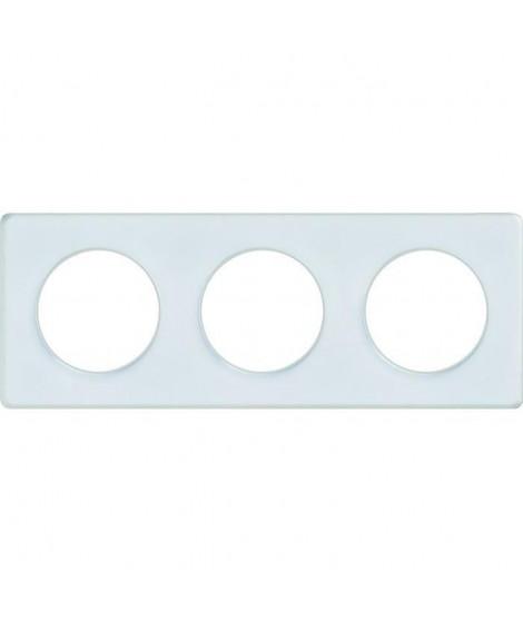 SCHNEIDER ELECTRIC Plaque 3 postes Odace Touch blanc translucide liseré blanc