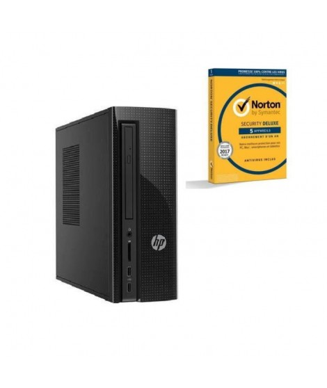 HP PC de bureau - 260a120nf - 4 Go de RAM - Windows 10 - AMD E2-7110 - AMD Radeon R2 Graphics - Disque dur 1 To + Norton Secu…