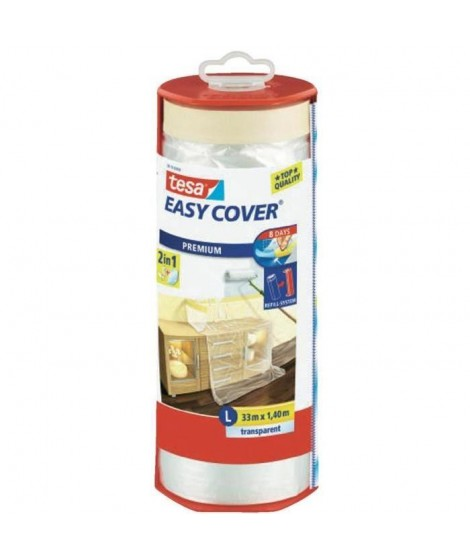 TESA Ruban de masquage avec film + Easy Cover Premium L  (bâche + ruban de masquage) - 33m x 1400mm