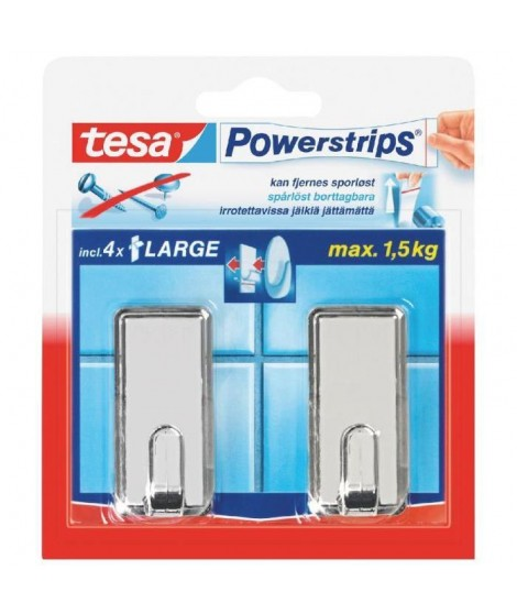 TESA 2 Crochets rectangulaires  + 4 Powerstrips - Chrome