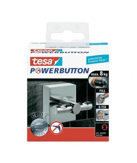 TESA Crochet double Powerbutton Deluxe - Carré - Métal - 8 kg