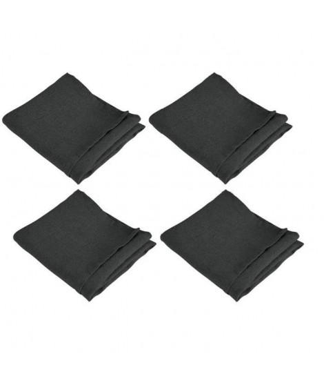 VENT DU SUD Lot de 4 serviettes de table SYMPHONIE 100% lin 50x50 cm anthracite