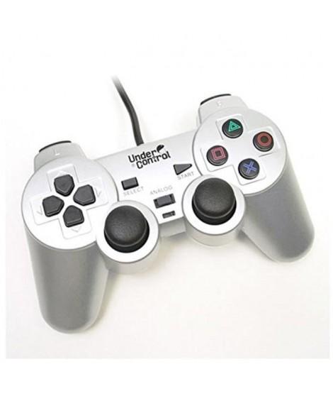 UNDER CONTROL Manette Filaire PS2 - Argent