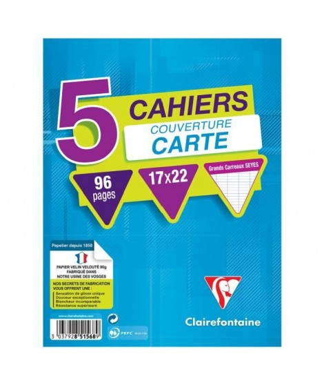 CLAIREFONTAINE Lot de 5 cahiers piqure 170 x 220 - 96 Pages - 90 g