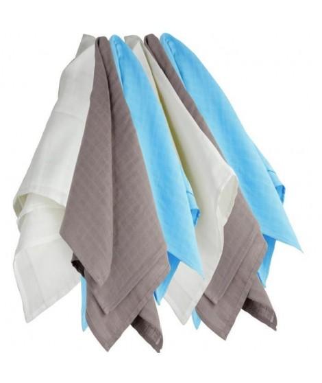TROIS KILOS SEPT Lot de 6 langes couches   hydro - 70x70 cm - Blanc / Marron / Turquoise