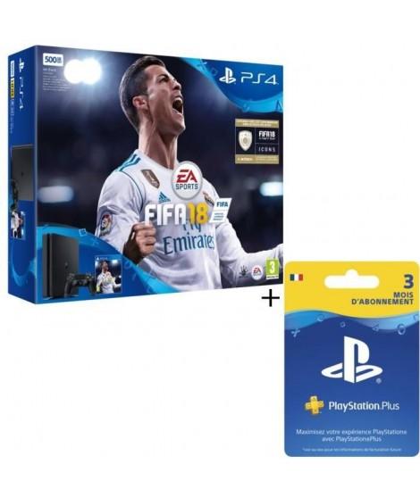 Nouvelle PS4 Slim Noire 500 Go + FIFA 18 + Abonnement PlayStation Plus 3 Mois (+14 jours offerts dans le pack)