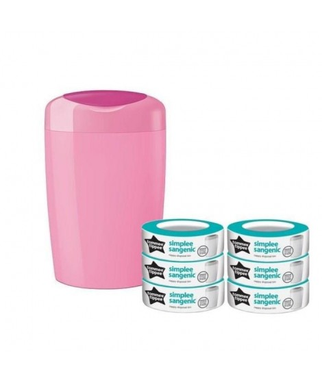 TOMMEE TIPPEE Starter Pack Sangenic SIMPLEE - 1 bac ROSE + 6 recharges