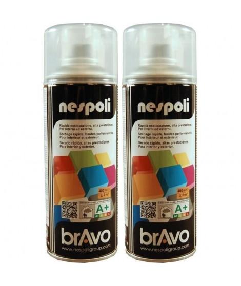 NESPOLI Lot de 2 aérosols peinture professionnelle effet satiné vernis incolore