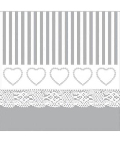 20 serviettes Coeur dentelle - 40x40 cm - Gris