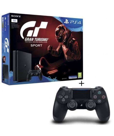 Nouvelle PS4 Slim Noire 1 To + Gran Turismo Sport + 2eme Manette DualShock 4 Noire + Qui-es-tu ? (Jeu PlayLink a télécharger)
