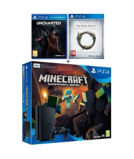 Nouvelle PS4 Slim Noire 500 Go + 3 Jeux : Uncharted : The Lost Legacy + Minecraft (Jeu a télécharger) + The Elder Scrolls