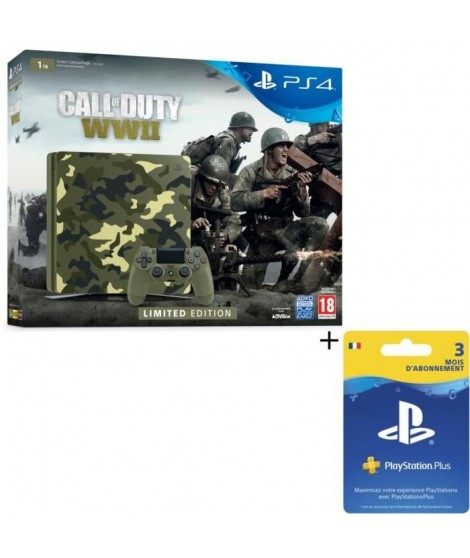 Pack Nouvelle PS4 1To Camo Design + Call of Duty World War II Deluxe Edition + Qui-es-tu ? (Jeu PlayLink a télécharger) + Abo…