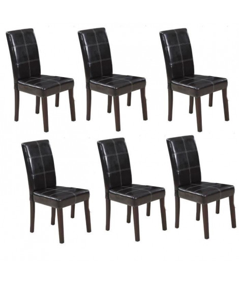 CROSS Lot de 6 Chaises de salle a manger marron