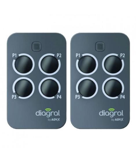DIAGRAL BY ADYX Lot de 2 télécommandes 4 touches pour motorisations de portails, portes de garages et volets