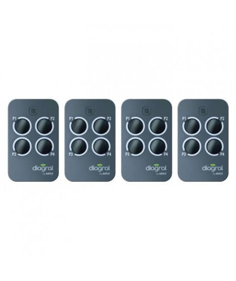 DIAGRAL BY ADYX Lot de 4 télécommandes 4 touches pour motorisations de portails, portes de garages et volets