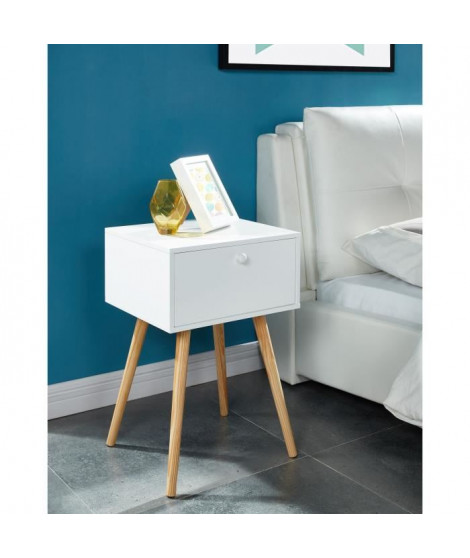 HORTENSE Table de chevet 40 cm - Laqué blanc satiné