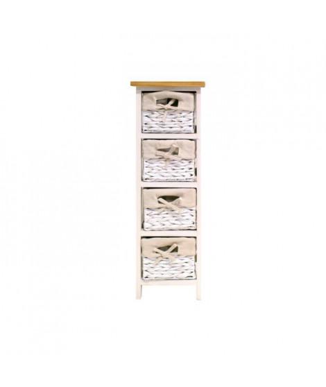 VENEZIA Petit meuble de rangement de salle de bain 24 cm - Laqué blanc brillant et bois