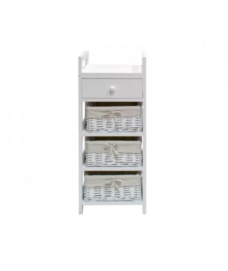 FIRENZA Petit meuble de rangement de salle de bain 30 cm - Laqué blanc brillant
