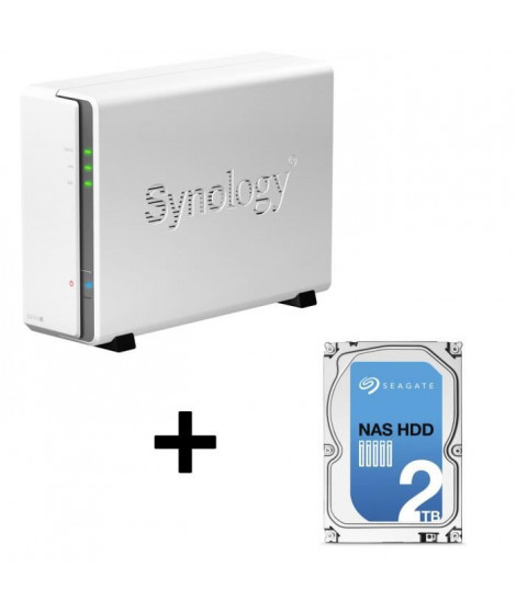 """Synology NAS DiskStation DS115j 1 Baie + Seagate NAS HDD Iron Wolf 2To 3,5"""""""