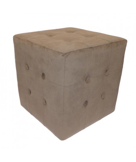 Pouf Chester Velours Taupe 32x32x33 cm