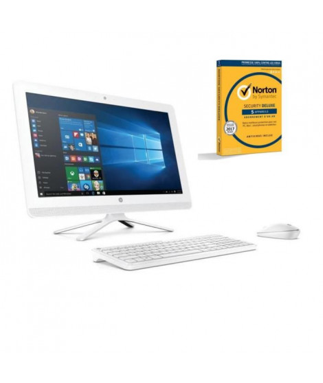 "HP PC Tout en un - 22b000nf - Blanc - 21,5"" FHD- 4Go de RAM - Windows 10 -  Intel Core i3- Intel HD 520- Disque Dur 2To + Norton"
