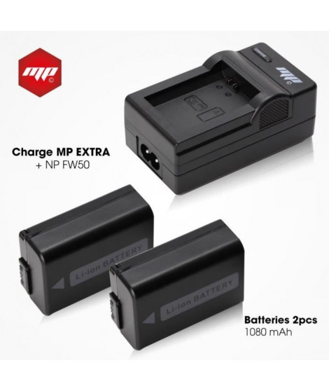 MP EXTRA  MP-NP-FW50-PACK  Pack 2 batteries + chargeur NP-FW50 pour Sony