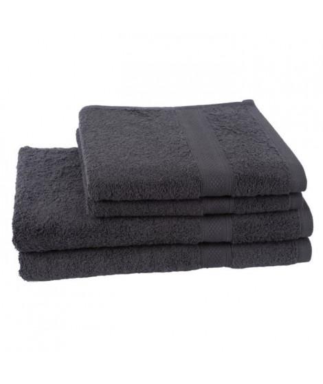 JULES CLARYSSE Lot de 2 serviettes + 2 draps de bain  70x140cm Élégance - Anthracite