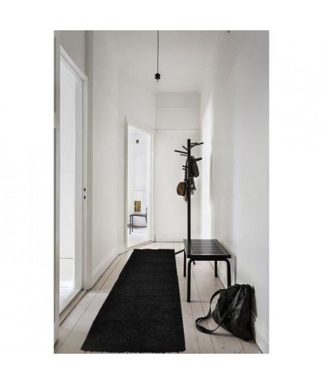 TRENDY Tapis de couloir Shaggy Noir 80x300 cm