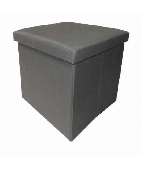 Pouf et rangement pliable gris 38 cm