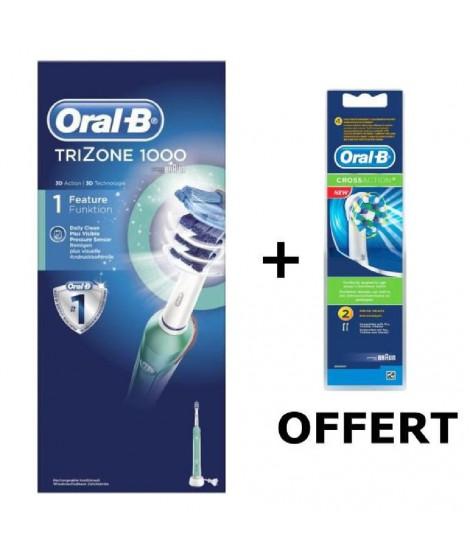 Pack ORAL B Brosse a dents électrique rechargeable TriZone 1000 + Lot de 2 Brossettes de remplacement CrossAction OFFERT