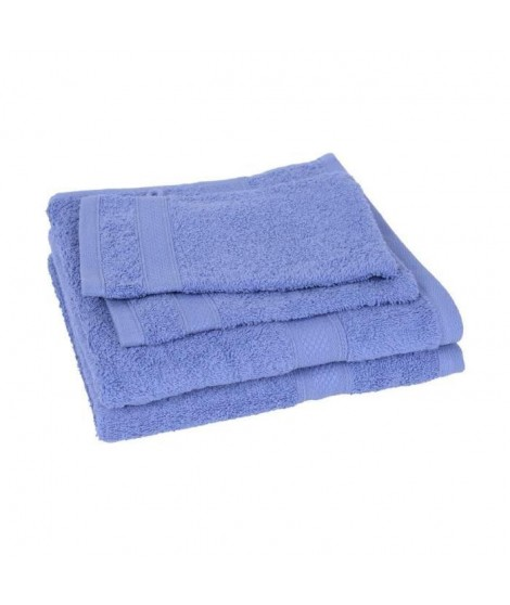 Lot de 2 serviettes + 2 gants ELEGANCE bleu