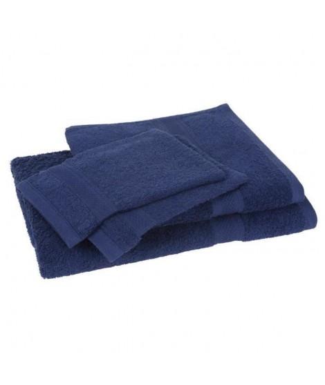 Lot de 1 drap de bain + 1 serviette + 2 gants ELEGANCE marine