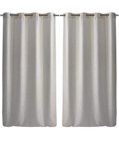 Paire de double rideaux occultant effet velours 140x260cm blanc